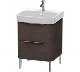 Duravit Happy D.2 Mobilier Vanity pe pardoseala, brushed dark oak furnir, 58x48xH57 cm