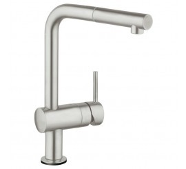 Grohe Minta Touch Baterie de bucatarie monocomanda electronica, cu dus extractibil, pipa in L, crom mat