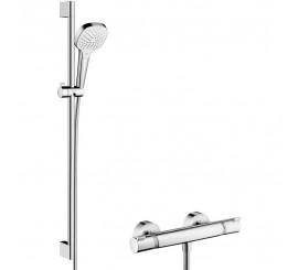 Hansgrohe Croma Select E Vario Sistem de dus cu bara 90 cm si baterie termostatata, alb/crom