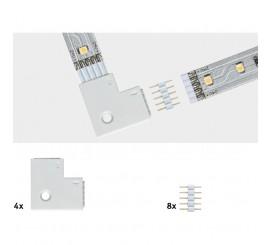 Paulmann MaxLED Set conector banda LED 90°, 8 bucati, alb