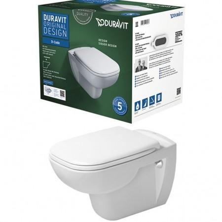 Duravit D-Code Rimless Set vas WC suspendat si capac soft-close