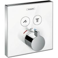 Hansgrohe ShowerSelect Baterie dus termostatata pentru montaj incastrat, 2 iesiri, alb/crom