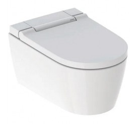 Geberit AquaClean Sela Set vas WC rimless suspendat cu functie de bideu, capac soft-close si ornament alb, 38x57 cm