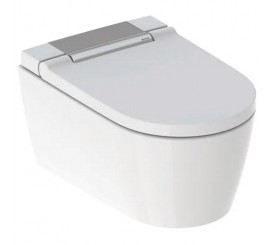 Geberit AquaClean Sela Set vas WC rimless suspendat cu functie de bideu, capac soft-close si ornament crom, 38x57 cm