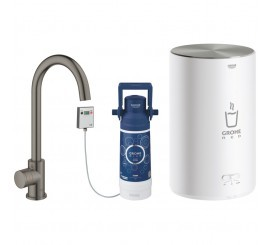 Grohe Red Mono Robinet de bucatarie cu pipa tip C si boiler, marime M, antracit mat (brushed hard graphite)