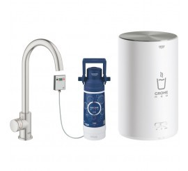 Grohe Red Mono Robinet de bucatarie cu pipa tip C si boiler, marime M, aspect inox (supersteel)