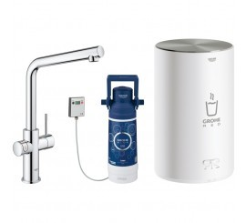Grohe Red Duo Baterie de bucatarie cu pipa tip L si boiler, marime M, crom