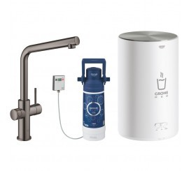 Grohe Red Duo Baterie de bucatarie cu pipa tip L si boiler, marime M, antracit (hard graphite)