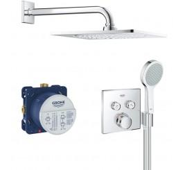 Grohe Grohtherm Cosmopolitan SmartControl Sistem de dus incastrat cu baterie patrata termostatata