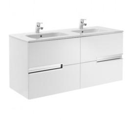 Roca Victoria-N Unik Set mobilier baie cu lavoar dublu 120 cm, alb lucios
