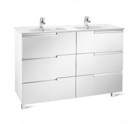Roca Victoria-N Unik Family Set mobilier cu lavoar dublu 120 cm, alb lucios