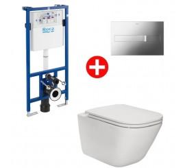 Roca Duplo The Gap Set promo Vas WC Rimless suspendat cu capac soft close, complet echipat