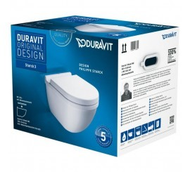 Duravit Starck 3 Set vas WC suspendat cu prinderi ascunse si capac soft close