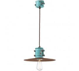 Ferroluce Retro Urban Pendul 1x53W, Ø40 cm, cupru/albastru