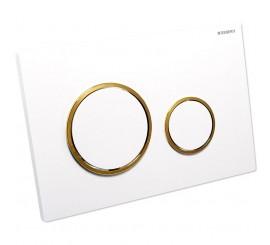 Geberit Sigma20 Clapeta de actionare dual-flush pentru rezervor incastrat, alb/auriu