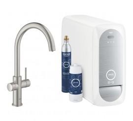 Grohe Blue Home Ondus Baterie de bucatarie cu sistem de filtrare, racire si acidulare, pipa C, aspect inox (supersteel)