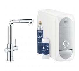 Grohe Blue Home Ondus Baterie de bucatarie cu sistem de filtrare, racire si acidulare, pipa L si dus extractibil, crom