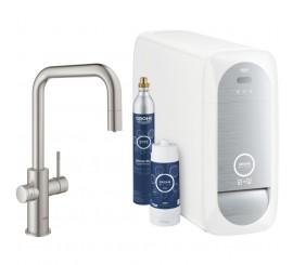 Grohe Blue Home Ondus Baterie de bucatarie cu sistem de filtrare, racire si acidulare, pipa U si dus extractibil, aspect inox (supersteel)