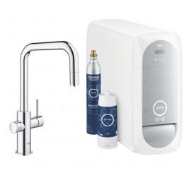 Grohe Blue Home Ondus Baterie de bucatarie cu sistem de filtrare, racire si acidulare, pipa U si dus extractibil, crom