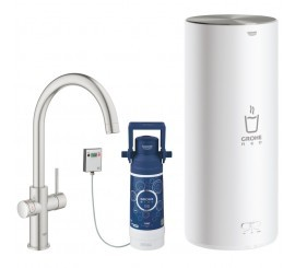 Grohe Red Duo Baterie de bucatarie cu pipa tip C si boiler, marime L, aspect inox (supersteel)