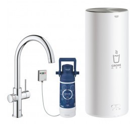 Grohe Red Duo Baterie de bucatarie cu pipa tip L si boiler, marime L, crom
