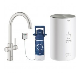 Grohe Red Duo Baterie de bucatarie cu pipa tip C si boiler, marime M, aspect inox (supersteel)