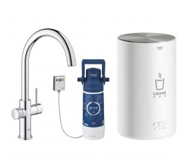 Grohe Red Duo Baterie de bucatarie cu pipa tip C si boiler, marime M, crom