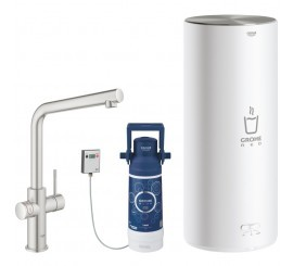 Grohe Red Duo Baterie de bucatarie cu pipa tip L si boiler, marime L, aspect inox (supersteel)