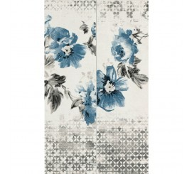 Marazzi Chroma White/Grey/Blue Flower Decor 11.5x38 cm