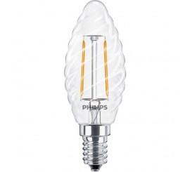 Philips Bec cu LED 2.3W, forma lumanare, filament retro, E14, lumina calda
