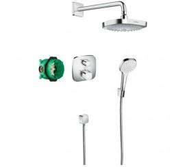 Hansgrohe Croma Select E Ecostat Sistem de dus incastrat cu termostat, crom